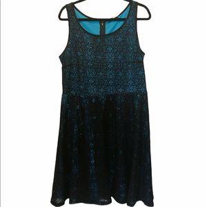 Addition Elle Black Blue Lace Strapless Midi A-Line Boho Dress Size 1X